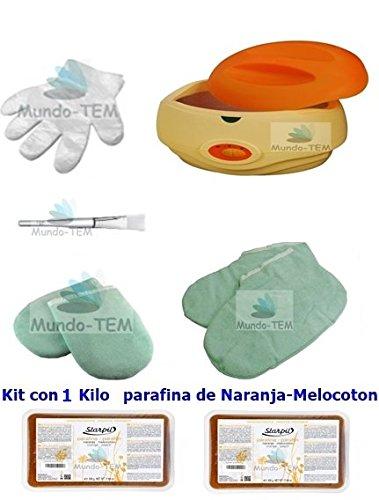 Mundo-TEM ® appareil fundidor de paraffine + Kit complet, 1 kilo paraffine de naranja-melocoton, cadeaux : Manuel bref pour le traitement de paraffine.