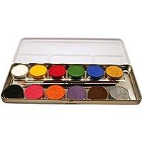 Eulenspiegel Schminkpalette aus Metall mit 12 Farben und 2 Profipinsel, 1 Stück