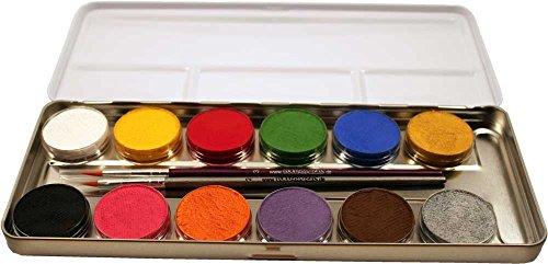 palette aus Metall mit 12 Farben und 2 Profipinsel, 1 Stück (Best-preis-halloween-kostüme)