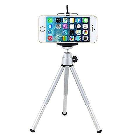 Mini trépied réglable 360°et support pour téléphones portables Gemini _ Mall® , Silver, Taille unique