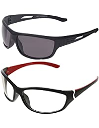 Vast Combo Of 2 Fashion All Day And Night Vision Biking, Driving And Sports Unisex Sunglasses (COMBO_BK_PREMIUM_C3_RED CLEAR_)