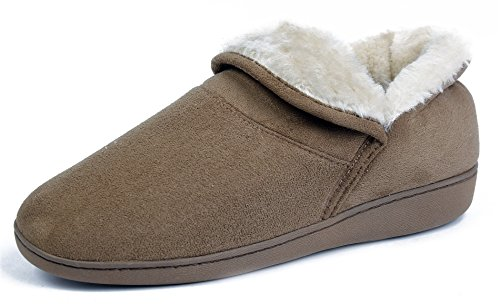 AgeeMi Shoes Damen Rund Zehe Weicher Flache Hausschuhe Hoch Qualitäts Pantoffeln Braun