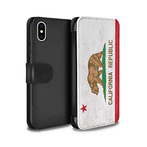 Stuff4® PU-Leder Hülle/Case/Tasche/Cover für Apple iPhone XS/Kalifornien Muster/Jahrgang USA-Staat Flagge Kollektion (Kalifornien Fall Flagge Iphone)
