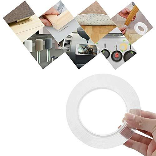 Doppelseitiges Klebeband, Nano Magic Tape, 2 m wiederverwendbares, starkes Klebeband, spurlos waschbares, entfernbares Gelband für den Innen- und Außenbereich - Arbeitsplatte Magie