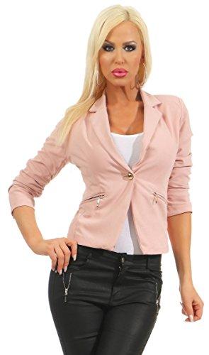 10866 Fashion4Young Damen Blazer Taillierte Jacke Elegant Kurzjacke Stretch Jäckchen Reverse (altrosa, S-36)
