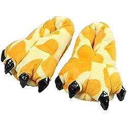 YLOVOW Suave Zapatillas De Felpa Unisex Adultos Niños Calor Zapatos Animales Monstruo Garra De Dinosaurio,M