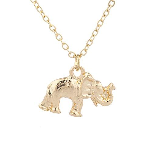 Lux Accessories - Collar con Colgante de Elefante de Buena Suerte, Tono Dorado