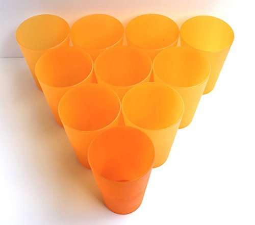 15 Plastik Trinkbecher 0,4 l - orange - Mehrwegtrinkbecher / Partybecher / Becher