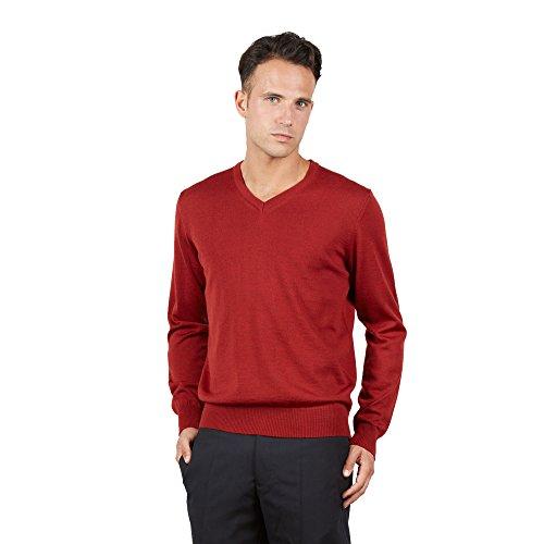 BRUNELLA GORI Herren Pullover V-Ausschnitt aus 100% Lammwolle (XL, Rosso) -