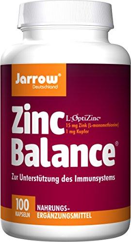 Zinc Balance 15 mg, Zink-Methionin-Komplex mit Kupfer (Verhältnis 15:1), 100 geschmacksneutrale Kapseln, optimal bioverfügbar, Jarrow Deutschland