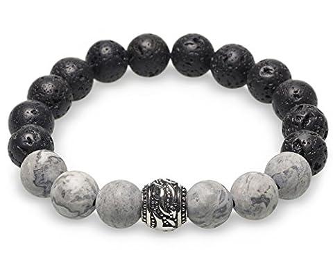 Perlenarmband für Herren - Kei Margo - schwarze Lavasteine und graue Jasper Edelsteine M