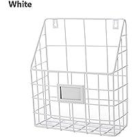 ShouYu Wrought iron Wall Mounted Bookshelf simple living room newspaper rack magazine rack Storage basket (White,25*10*30CM)