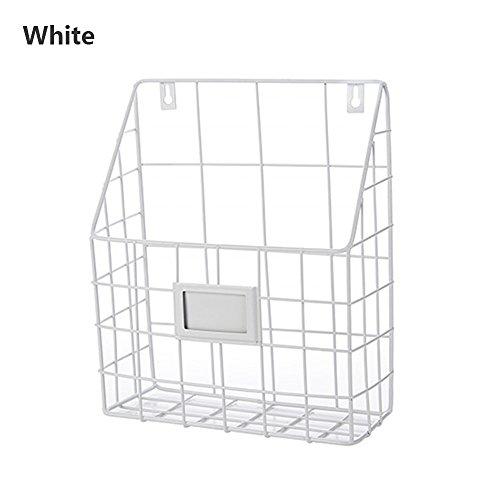 Shouyu scaffale da parete in ferro battuto libreria semplice soggiorno giornale rack portariviste stoccaggio cestello portaoggetti (bianco, 25 * 10 * 30 cm)
