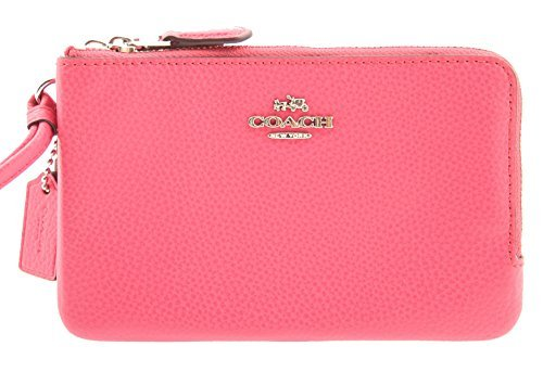 COACH Polished Pebble Leather Double Corner Zip Wallet in Magenta