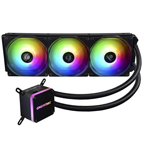 Enermax LIQMAX III ELC-LMT360-ARGB - Refrigerador de Agua para CPU Todo en uno, Dual Chamber Intel/AMD AM4 Support 350W+ TDP (3 Ventiladores ARGB PWM), Color Negro