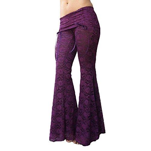 Juleya Mujer Pantalones de Yoga Cintura Baja Pantalones Acampanados Pantalones de Encaje con Mallas Patchwork Bloomers Pantalones de Baile Elegante Suave y cómodo 6 Colores S-5XL