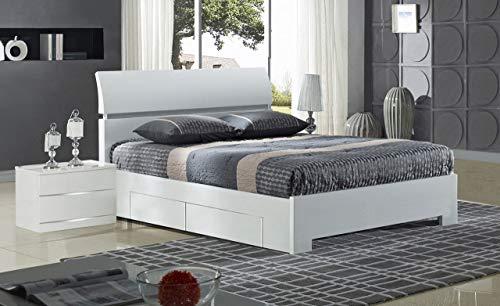 Design Vicenza Vigone Hochglanz Bett King Size mit 4 Schubladen Weiß