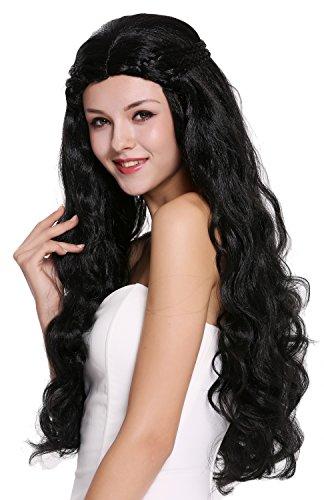 WIG ME UP ® - 91323-ZA103 Perruque dame très longue ondulée noire sophistiquée tressée raie centrale romantique conte de fées hippie