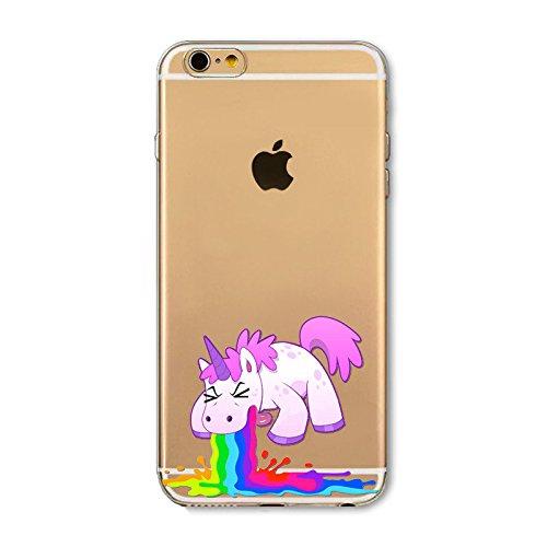 Coque Iphone 5 , 5s et 5SE en Gel silicone souple transparent , licorne fun , flamant , cactus , fantome , love , Licorne arc en ciel caca Licorne vomi