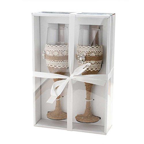 Set de copas para brindis Vlovelife, copas de cristal con base de arpillería, ideal para boda Style A