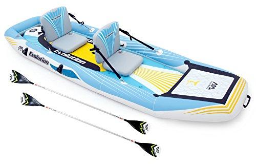 """Aqua Marina Evolution 10'14"""" SUP & KAJAK 2 en 1 - KAJAK Y SUP combinado - hochdruck-drop-stitch-pvc-rumpfkonstruktion - 2 en 1 Sistema, Dos Personas KAJAK y stand-up-paddle-board - Confortables y altos asientos con aire Dropstitch, diseño ajustab..."""