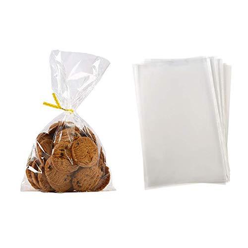Amorar 100 Stück OPP Tütchen Plastiktüten klein Flachbeutel Beutel Plätzchen Gebäck Tüten Süßigkeiten klar Geschenk Verpackung Süßigkeiten Hochzeit Seifen Deko Bag mit Band