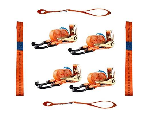 4 Gurtschlaufen Doppelschlaufe + 4 Spanngurte Motorradspanngurt Sicherung