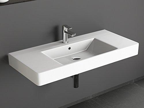 Aqua Bagno KP.100.C Design Waschbecken/Aufsatzbecken 100x45cm Keramik weiß Waschtisch Waschschale 100% Keramik