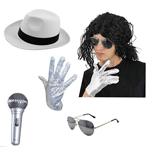 Jackson Jacko Relaxed Afro Perücke, Hut, Sonnenbrille, Handschuh und aufblasbares Mikrofon Set ()