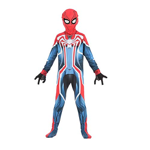 BLOIBFS Iron Spiderman Kinder Kostüm,Halloween Kostüm Jungen Spandex Fasching Spiderman Bodysuit Party Cosplay Kostüm,Red-XL
