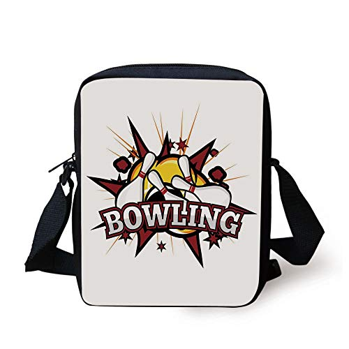 Bowling Party Decorations,Cartoon Comic Book Style Design Stars Retro Crash Effects Decorative,Ruby White Yellow Print Kids Crossbody Messenger Bag Purse 6 Cell White Star