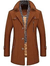 Homme Hiver Manteau Veste en Laine Caban Long Trench-Coat Chaud Slim fit  Casual Pea 8068bb35e7b