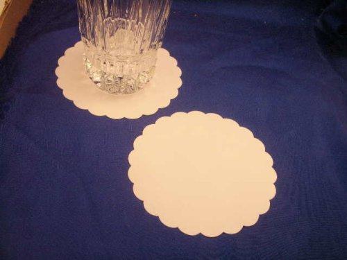 100 Plain White Hard Stock Paper Coasters 4 Diameter by Party Favors Plus (Stock Coaster)