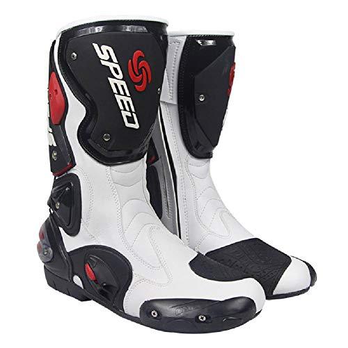 JIN Stivali da Moto Stivali da Turismo Sportivi su Strada Stivali corazzati Resistenti,White-EU45
