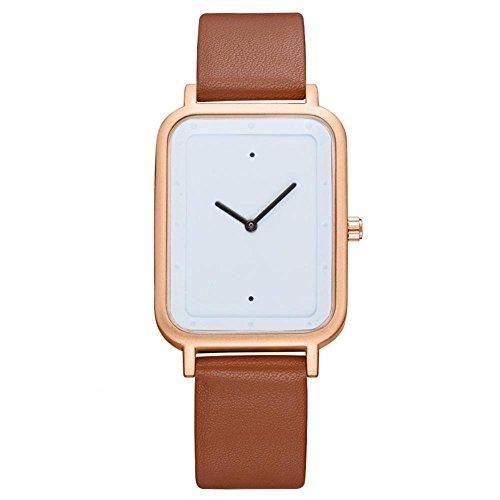 Herren Quarzuhr Armbanduhr Kreative Art und Weise analoge Armbanduhr Quadratische Vorwahlknopf-Uhr-PU-Leder-Uhren(Braunes Band + Goldrand)