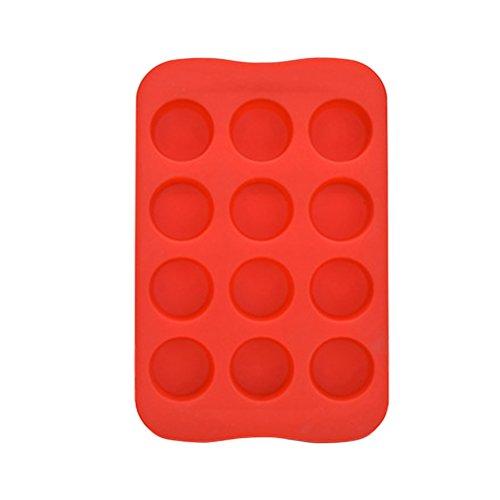 BESTONZON 12 Cavities Silikon Eiswürfelform, Liebe und Herz geformt mit Eis Form (rot)