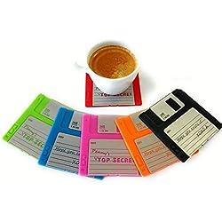Zonster Conjunto de 6 Posavasos de Disquete - Diversión, decoración de Colores para su Tabla | GR8 Regalo para los entusiastas de la informática