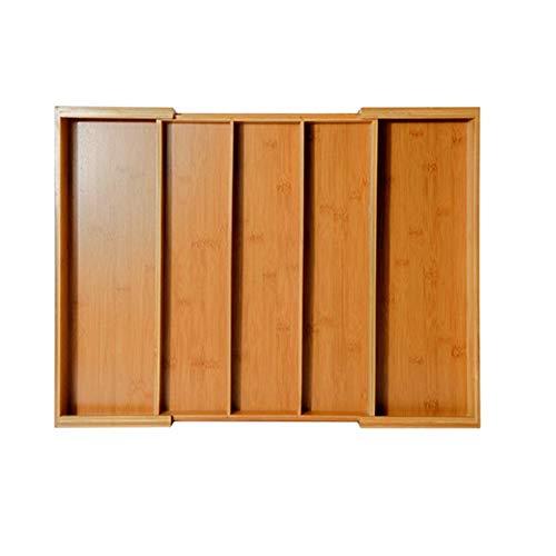 Erweiterbarer Schubladen-Organizer, Bambus Verstellbares Besteck/Utensil Tray Schubladen-Trennwände für Küche, 5 Fächer -