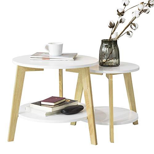 SoBuy FBT75-W 2er Set Beistelltisch mit runden Ablagen Satztisch Couchtisch Sofatisch Kaffeetisch Wohnzimmertisch Kautschukholz Weiß/Natur