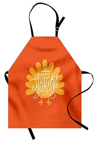 anksgiving Day Theme mit Geflügel Silhouette Herbstsaison November, Unisex-Küche Latzschürze mit verstellbarem Hals zum Kochen Backen Gartenarbeit, Orange Senf Weiß ()