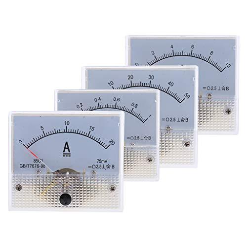 LOVIVER 4Pcs / Set DC 0 1A Bis 0 20A, 0 10mA Bis 0 50mA Analog Amp Panel Meter Gauge 10 Gauge Amp