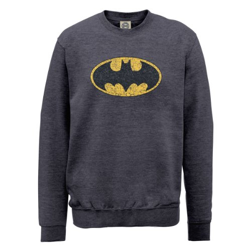 DC Comics Herren, Sweatshirt, DC0000516 Official Batman Gloss Logo Stahlgrau