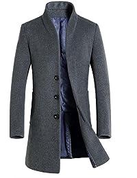 Vogstyle Homme Manteau De Laine Simple Boutonnage Hiver