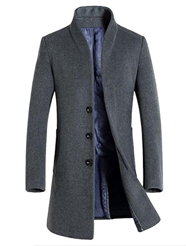 Vogstyle Herren Winter Slim Fit Wollmantel Business Überzieher Schlank Lange Windbreaker Jacken Dick Grau L