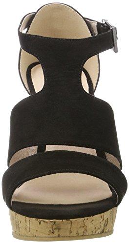 Bianco Damen Double Strap Sandal 20-49201 Plateausandalen Schwarz (Black)