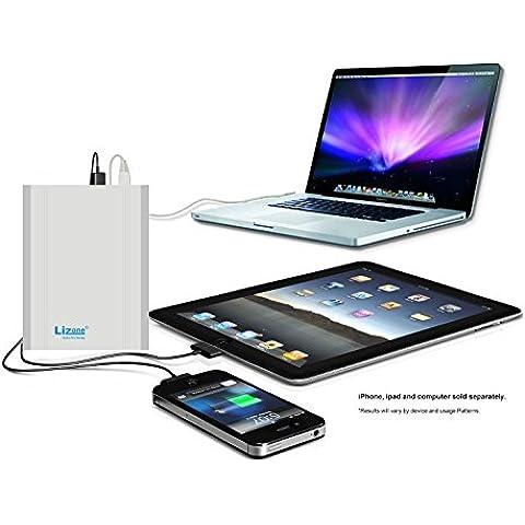 Lizone® Extra Pro 40000mAh súper capacidad Power Bank Batería Externa Cargador Portátil para Apple MacBook, Notebooks Dell, HP, Lenovo,IBM,tabletas,Móviles,Smartphones y Más -Aluminio UniBody- Plata