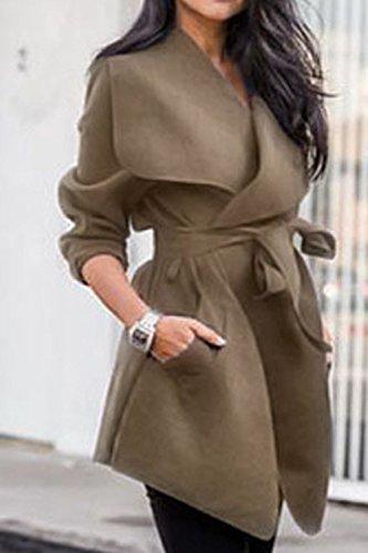 Donna Elegante Giacca Impermeabile Con Cintura Oversize Risvolto Cardigan Khaki