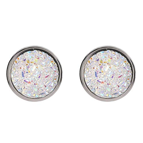 Daawqee Pendientes Para Mujer, New Vintage Imitation Stone Round Gypsophila Crystal Stud Earring 10 Colors Hypoallergenic Engagement Wedding Stud Earrings WT