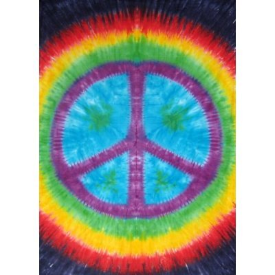 Sunshine Joy Rainbow Tie-Dye Peace Sign Tapestry Dorm Wall Hanging 60X90