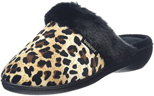 isotoner-heeled-velour-with-fur-cuff-chaussons-femme-multicolore-multicolor-panther-black-40-eu-7-uk